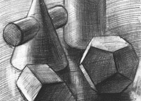 四个几何体组合素描实例(一)