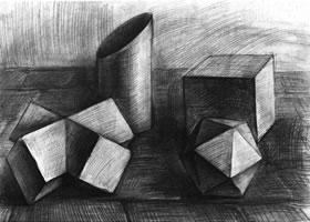 四个几何体组合素描实例(二)