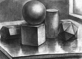五个几何体组合素描实例(二)