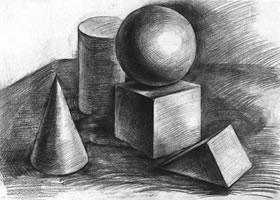 五个几何体组合素描实例(四)