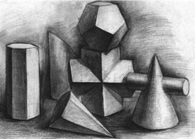 六个几何体组合素描实例(二)