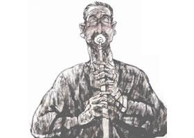吹唢呐的陕北汉子写意人物画