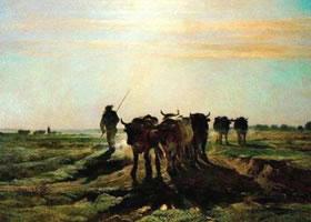 康斯坦•特罗扬《去耕作的牛群》名画
