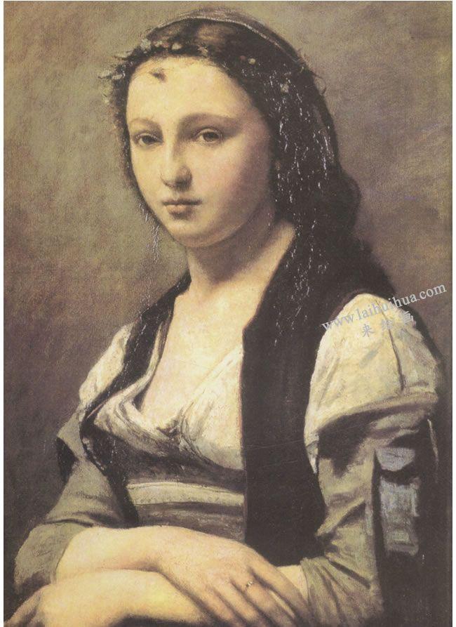 柯罗《珍珠女》肖像画
