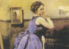 柯罗《蓝衣女郎》肖像名画