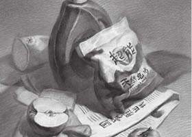 洗洁用品组合素描画法