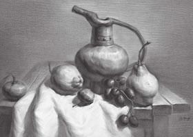 器皿与水果组合素描画法