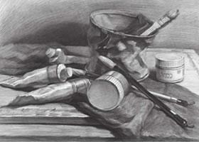画具颜料组合素描画法