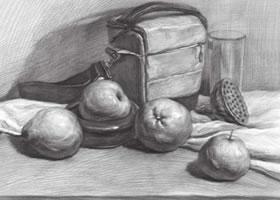 帆布包与水果组合素描画法