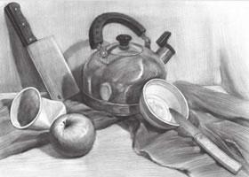 厨具与水果组合素描画法