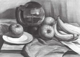 玻璃水壶与水果组合素描画法