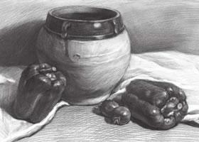 宽口陶罐与青椒组合素描画法