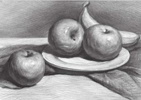 白瓷盘与水果组合素描画法