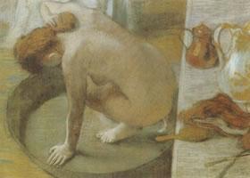 埃徳如•德加《盆浴》纸粉彩名画