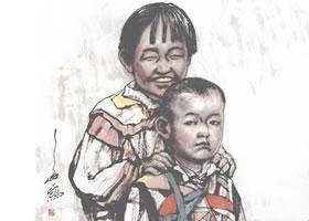 姐弟俩(双人组合)写意人物画