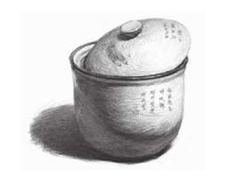 白瓷罐素描画法