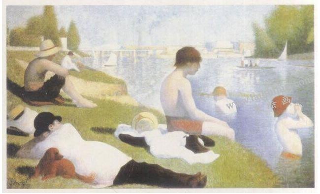 修拉《安涅尔浴场》名画