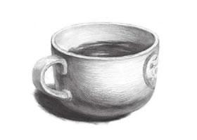 白瓷杯素描画法(二)