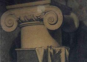 《罗马石膏柱头写生》素描作品