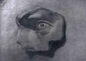 《石膏耳、眼》静物素描作品