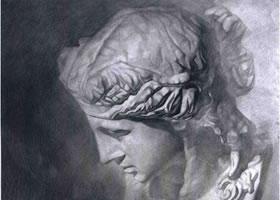 《石膏头像写生》静物素描作品