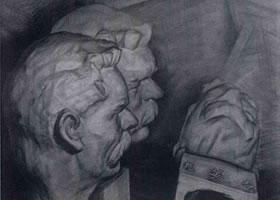 《三个高尔基石膏组合》静物素描作品
