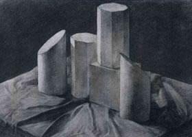 《石膏几何体写生》静物素描作品