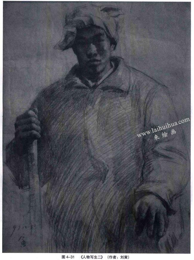 陕北中年男人《人物写生》素描作品