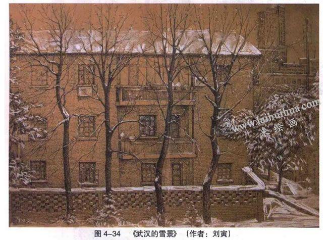 《武汉的雪景》风景素描作品