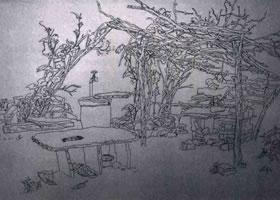 《静物钢笔写生》素描作品