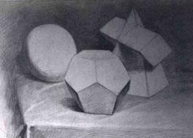 石膏几何形体的明暗素描画法