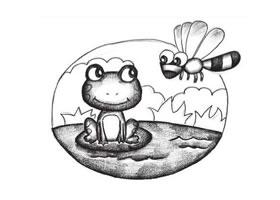 蜻蜓和青蛙创意素描画法