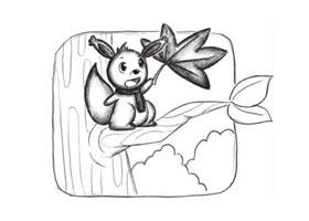 小松鼠创意素描画法步骤