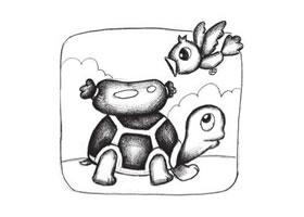 乌龟与食物创意素描画法步骤