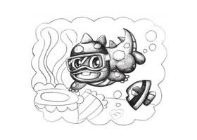 潜水的小恐龙创意素描画法