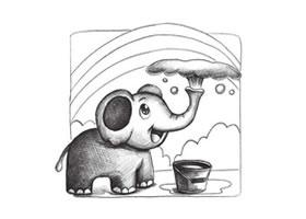 小象与彩虹创意素描画法步骤