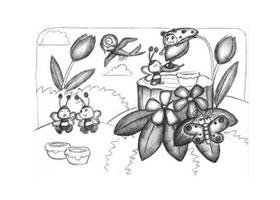 小蜜蜂创意素描画法