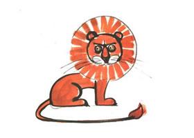 狮子儿童水墨画法