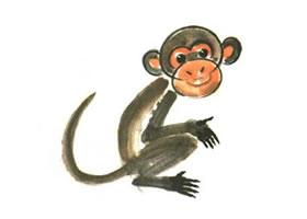 猴子儿童水墨画法