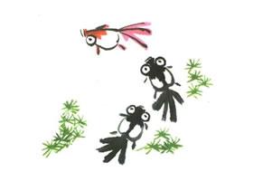 金鱼儿童水墨画法