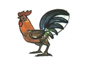 公鸡儿童水墨画法