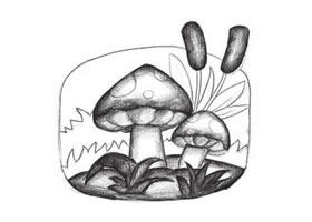 蘑菇创意素描画法