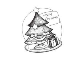 圣诞树创意素描画法