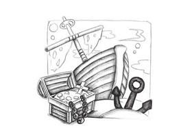 沉船与宝藏创意素描画法