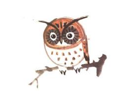猫头鹰儿童水墨画法