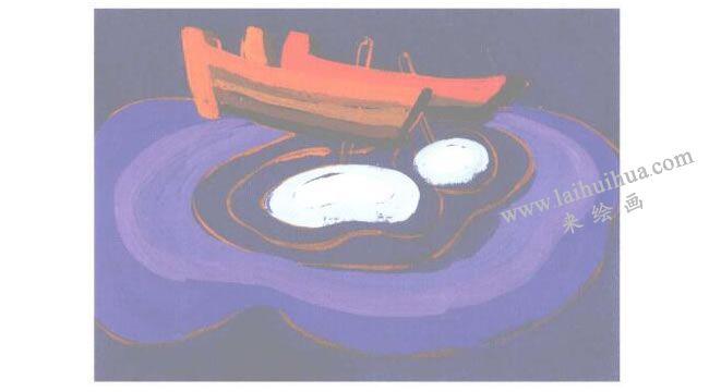静谧的船水粉画创作步骤02