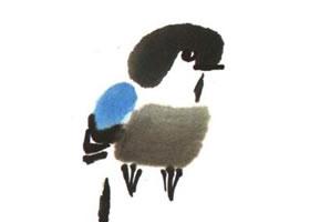 山雀儿童水墨画法