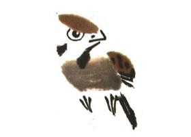 麻雀儿童水墨画法(二)