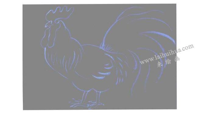 彩色大公鸡水粉画法步骤01