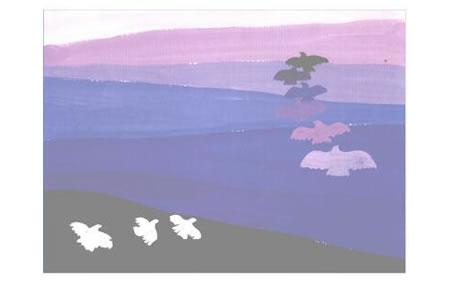彩色的大地水粉画创作步骤05